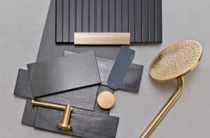 bathroom colour and fitting flat-lay