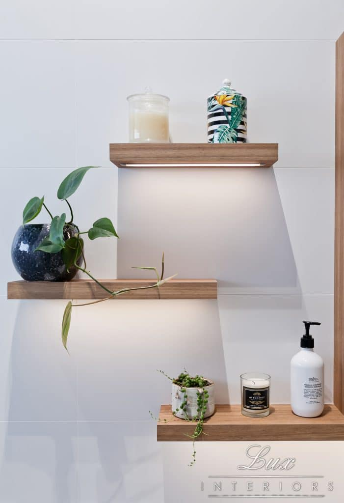 Wooden shelving features