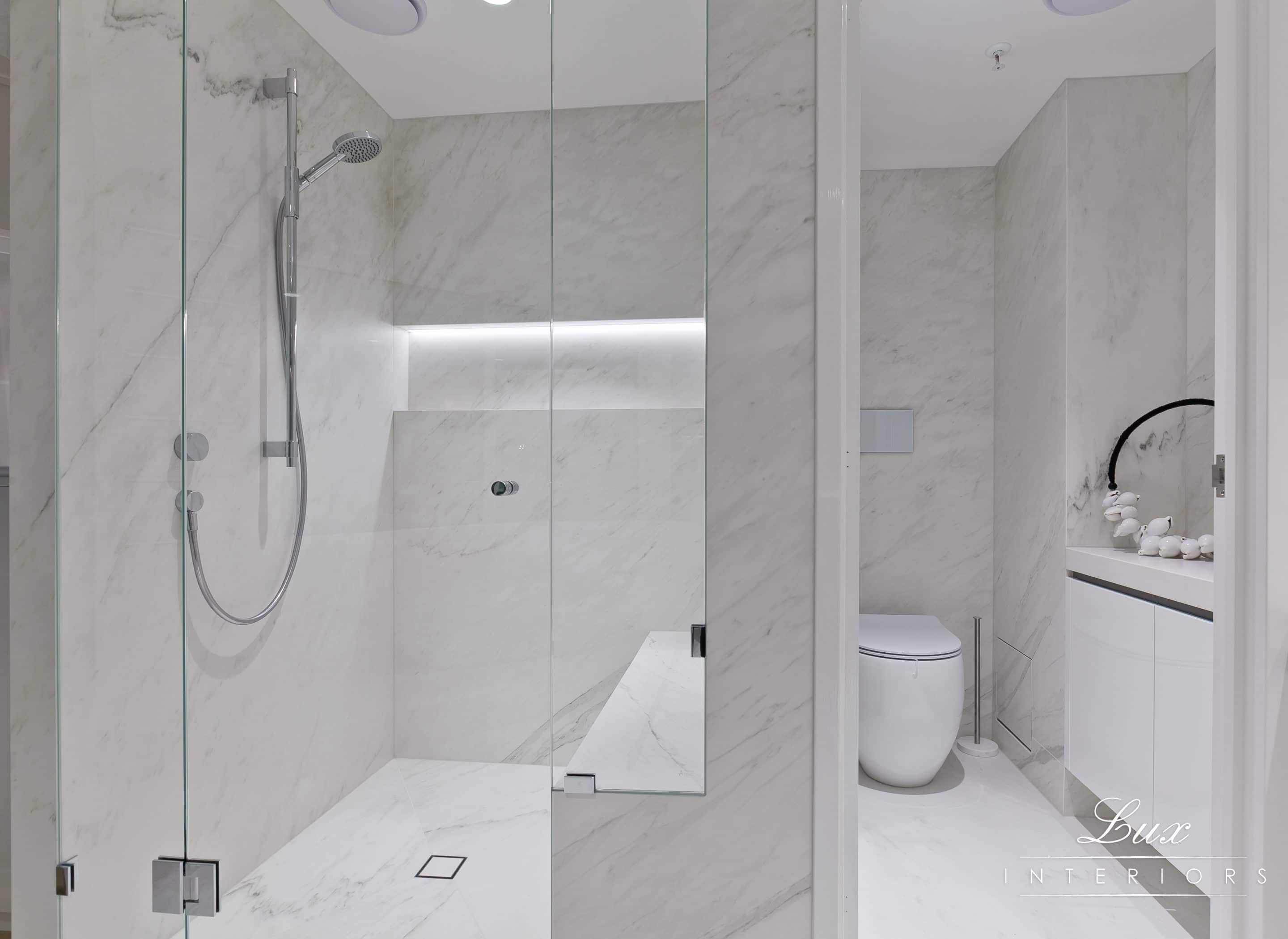 Specific angle of the toilet and shower