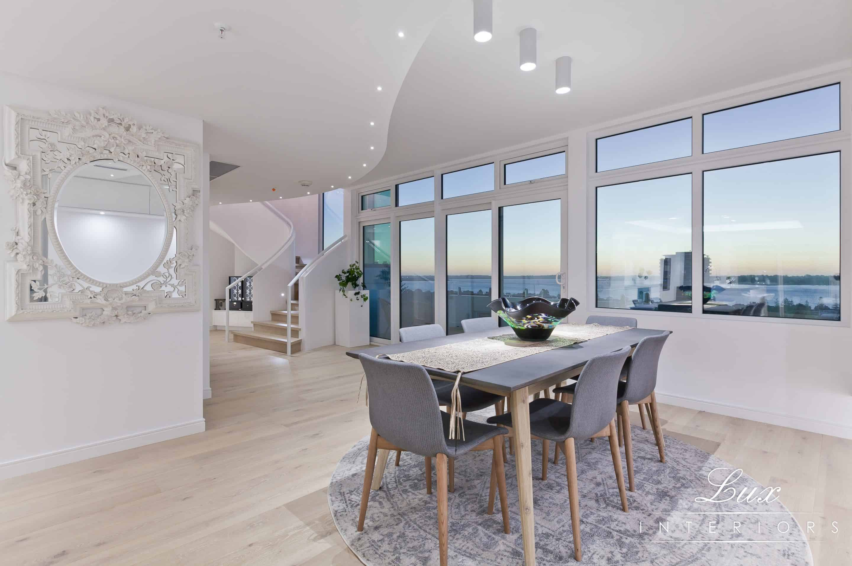 dining area and staircase with view of south perth