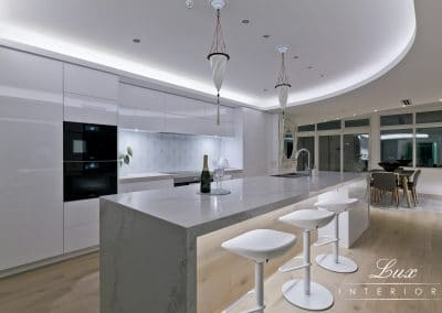 kitchen with champagne to celebrate the renovation