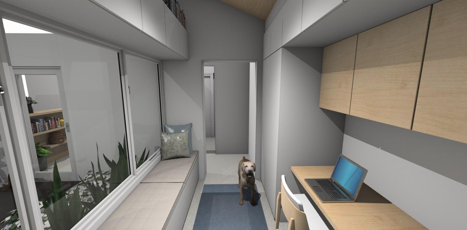 Home office 3D render in a long slim space 1