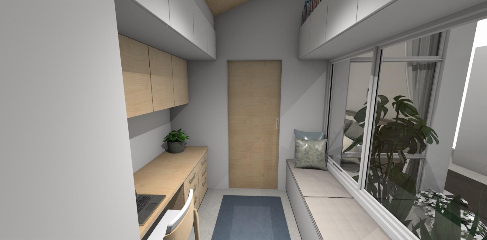Home office 3D render in a long slim space 2