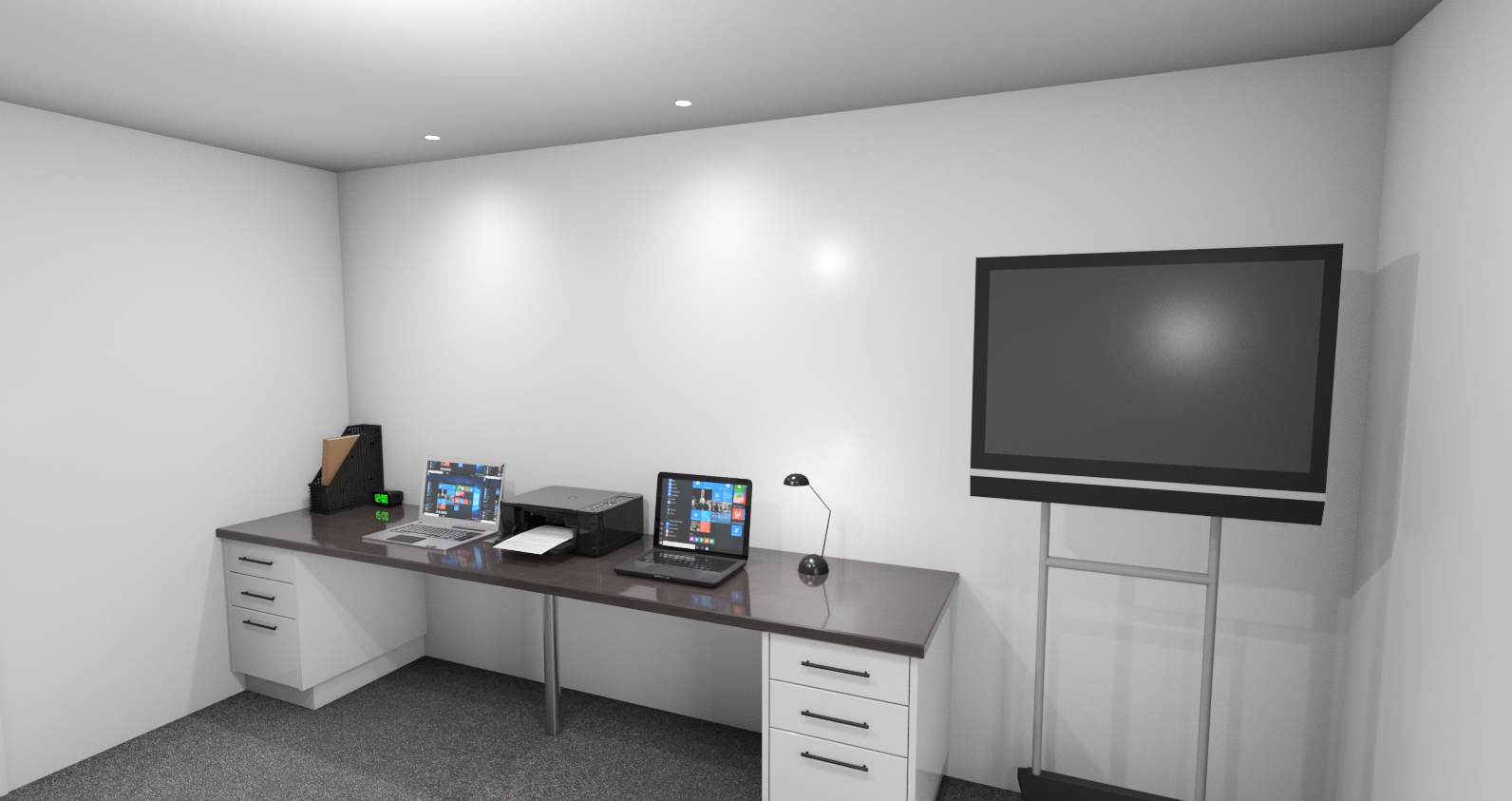 Home office 3D render with double work desks