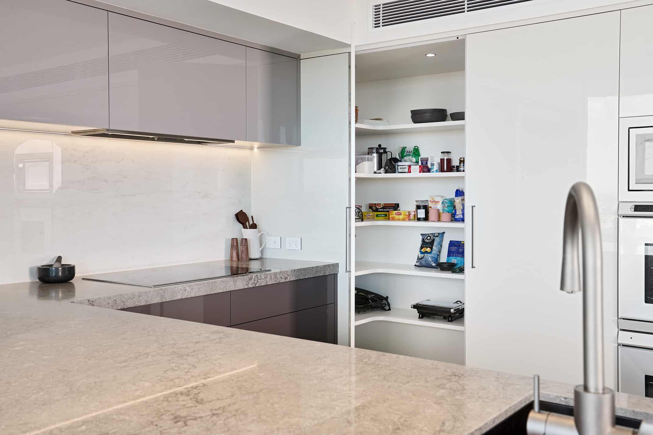 Kitchen walk in pantry open