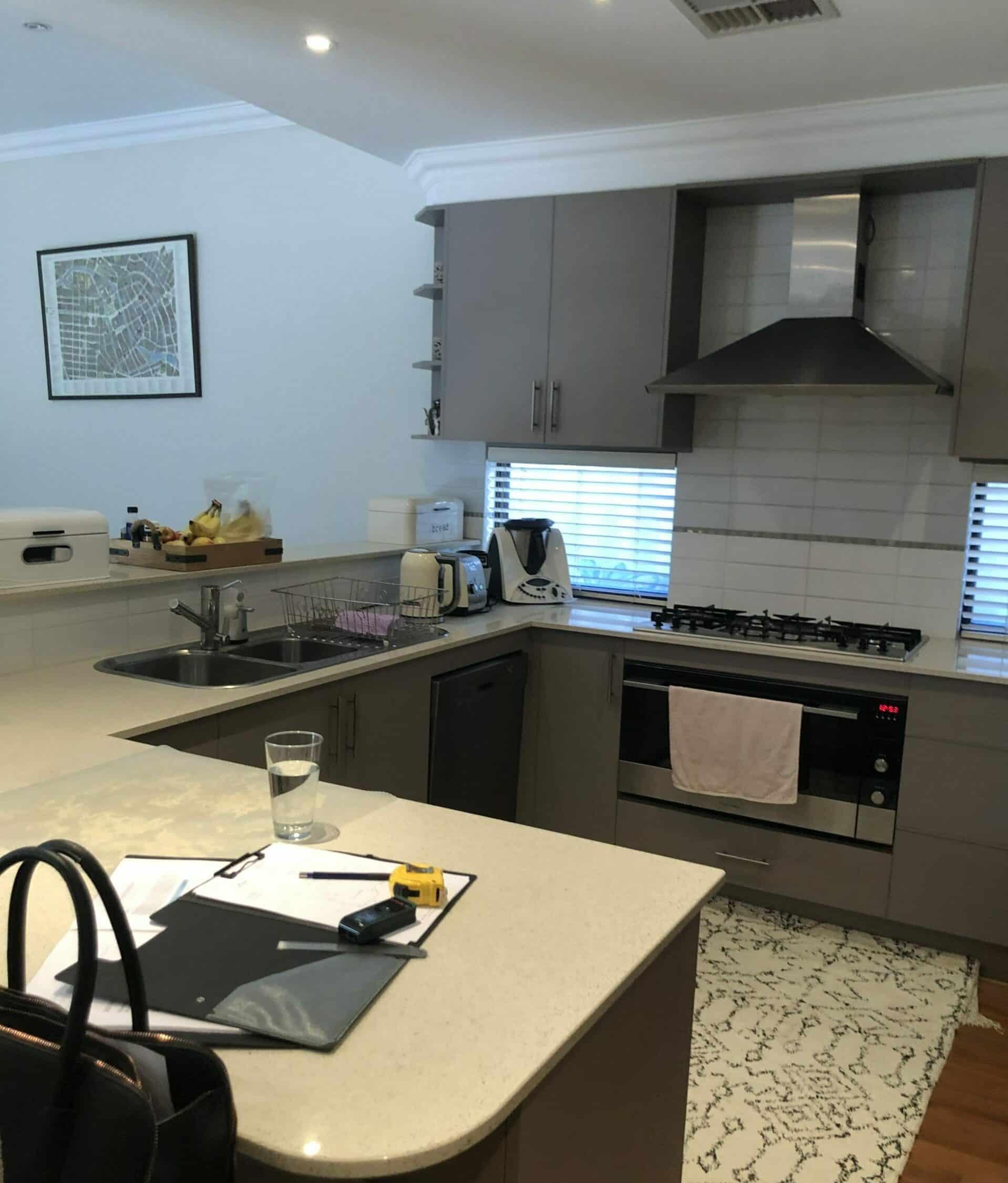 Joondanna Hamptons Kitchen Before - Dark and cluttered