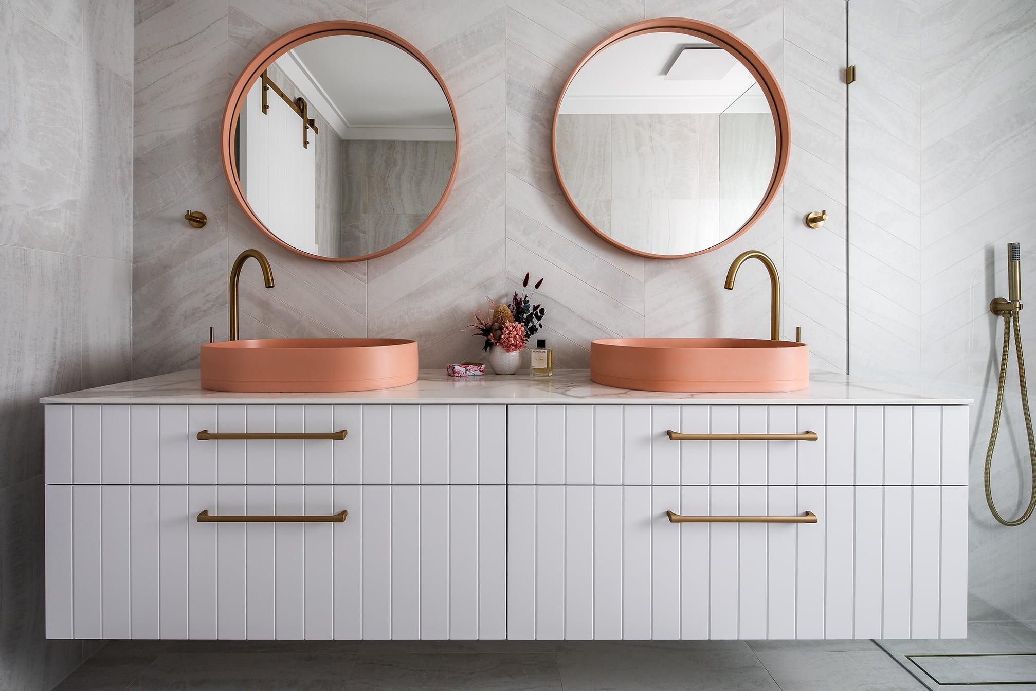 North beach Coastal Barn Ensuite - double vanity and mirrors