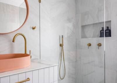 North beach Coastal Barn Ensuite - vanity, tap, basin and shower