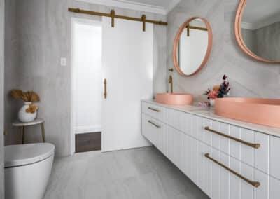 North beach Coastal Barn Ensuite - vanity, barn door and toilet