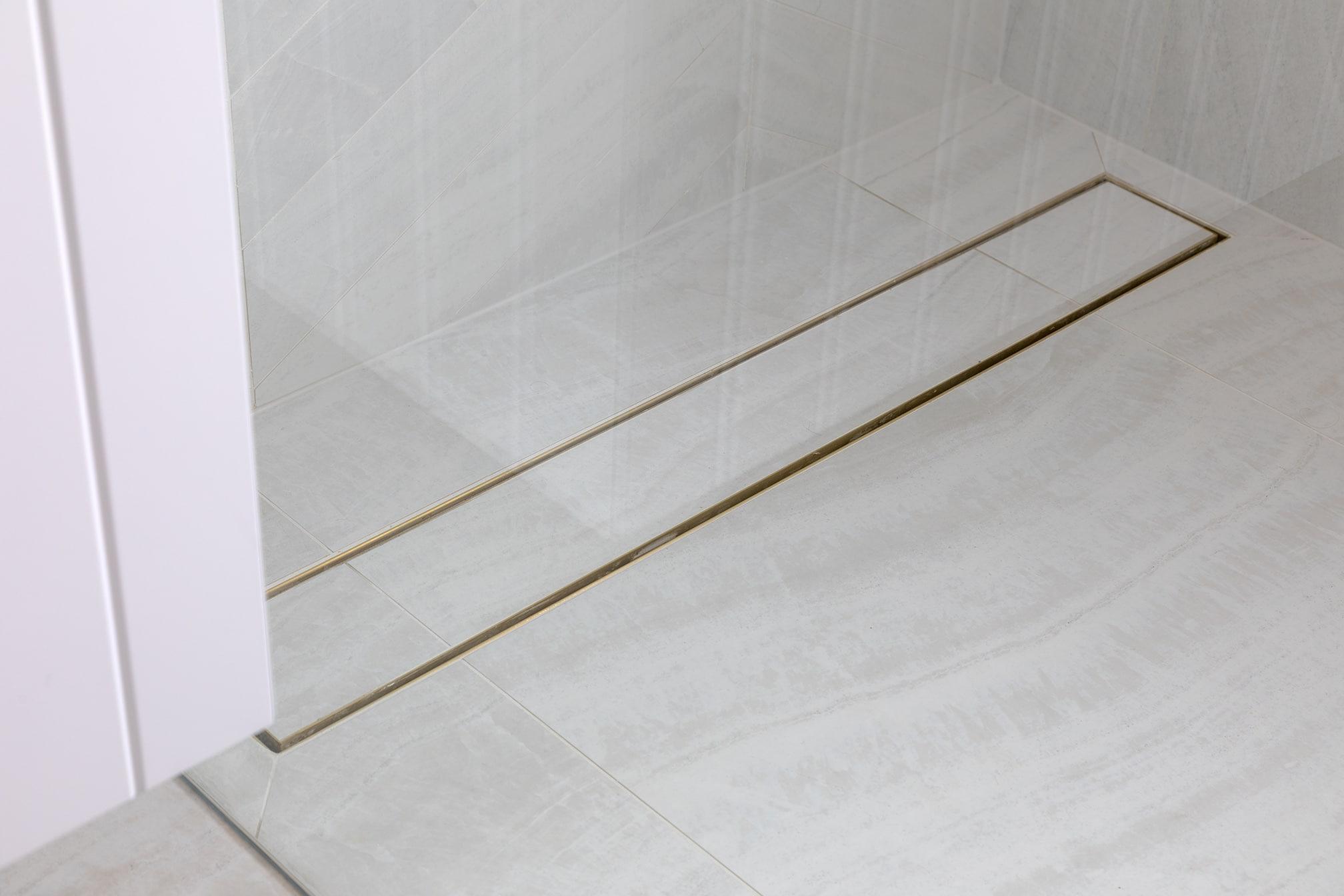 North beach Coastal Barn Ensuite - shower strip drain
