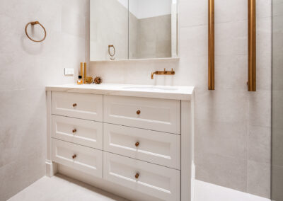 Mount Lawley Traditional Skylit Ensuite - Angled towards vanity and towel rails