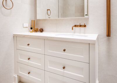 Mount Lawley Traditional Skylit Ensuite - Angled towards vanity and towel rails, close up