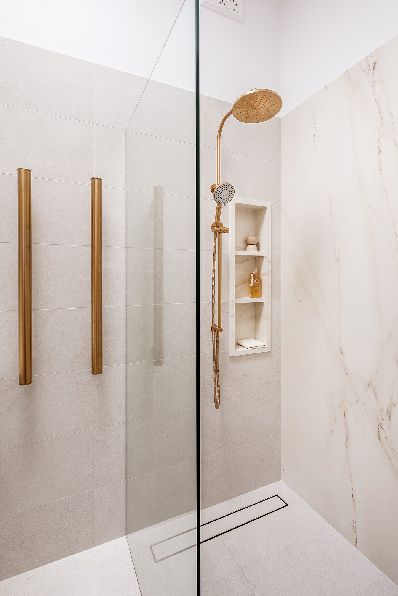 Mount Lawley Traditional Skylit Ensuite - Angled towards heated towel rails and shower