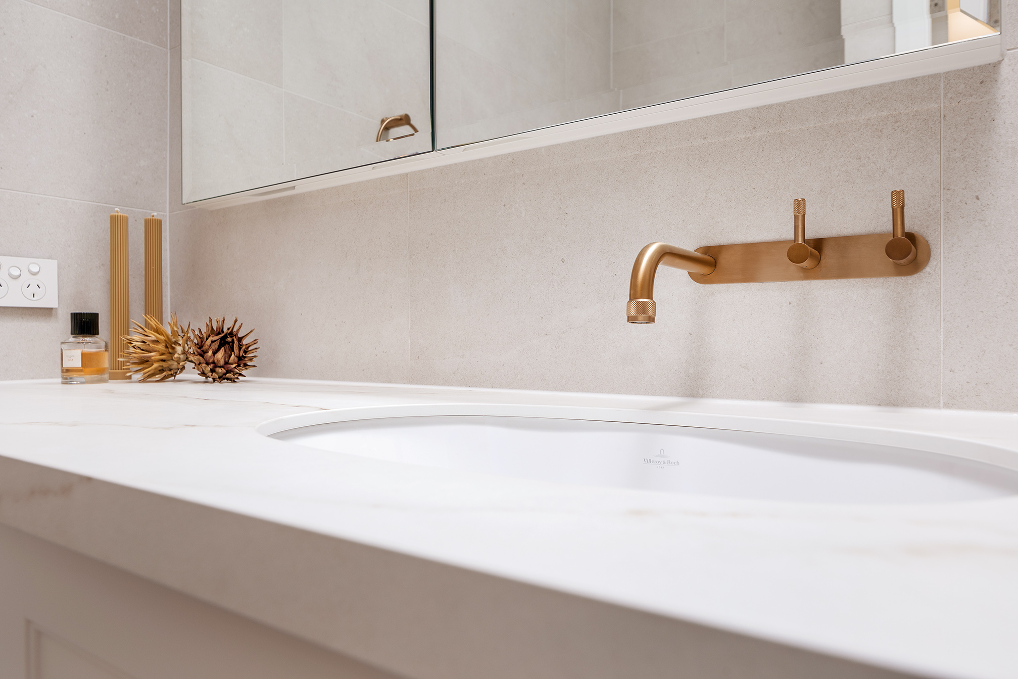Mount Lawley Traditional Skylit Ensuite - Close up of vanity with brass tapware