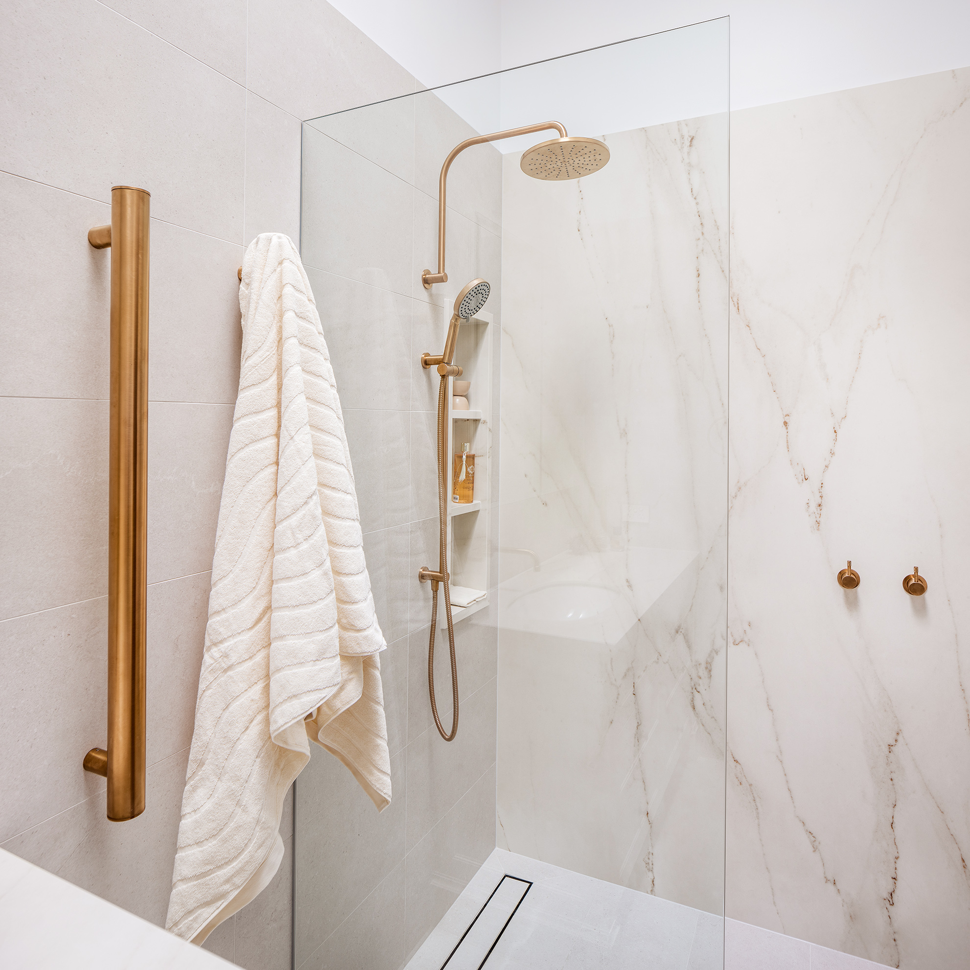 Mount Lawley Traditional Skylit Ensuite - Heated vertical towel rails and shower in brass