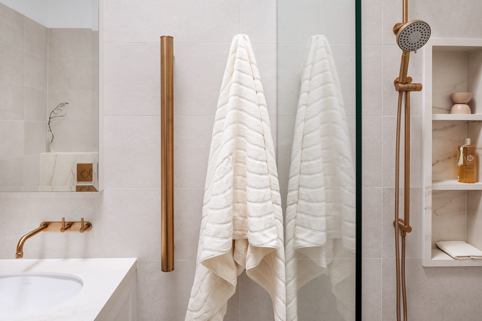 Mount Lawley Traditional Skylit Ensuite - Heated vertical towel rails in brass