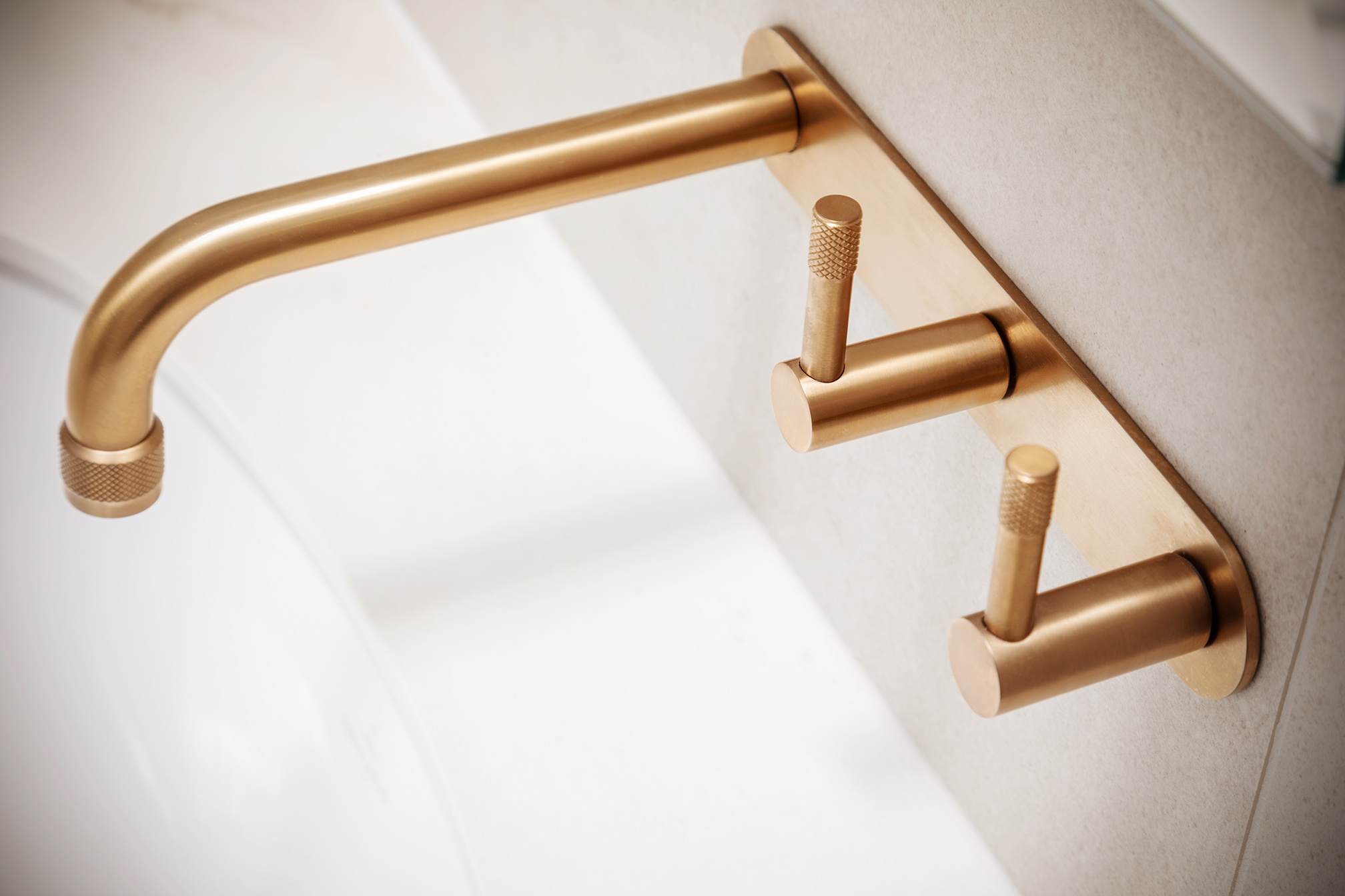 Mount Lawley Traditional Skylit Ensuite - Close up of brass tapware
