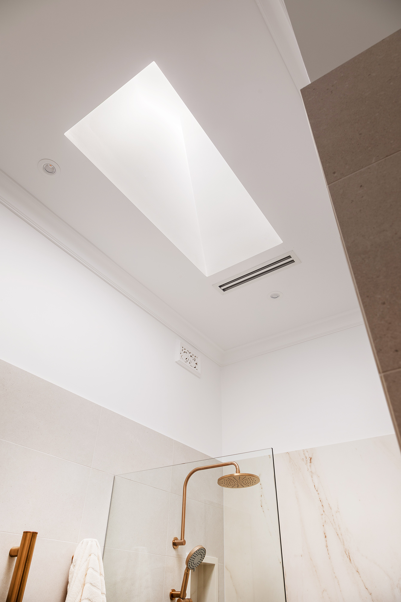 Mount Lawley Traditional Skylit Ensuite - Close up of skylight
