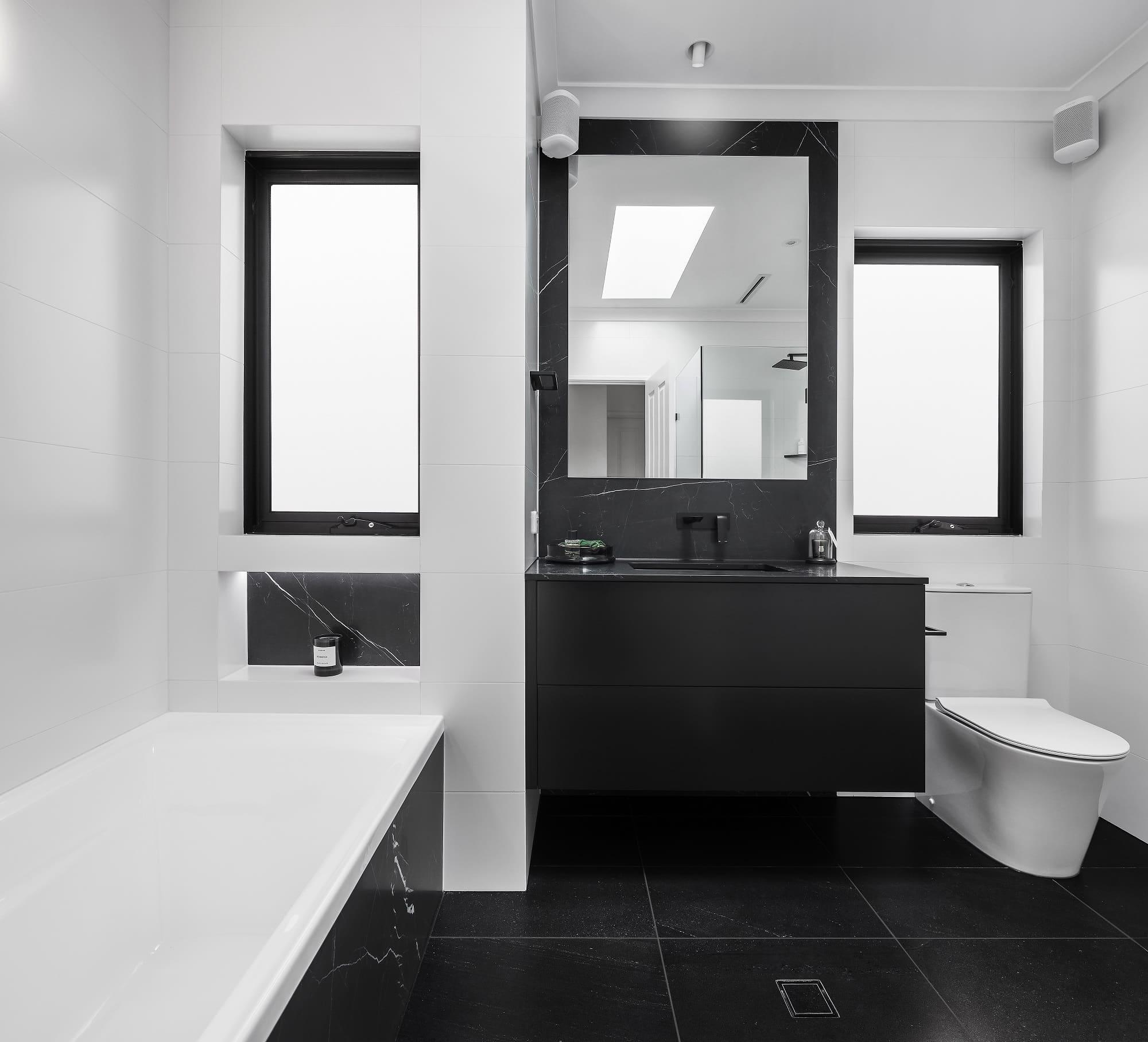Monochrome Main Bathroom overview