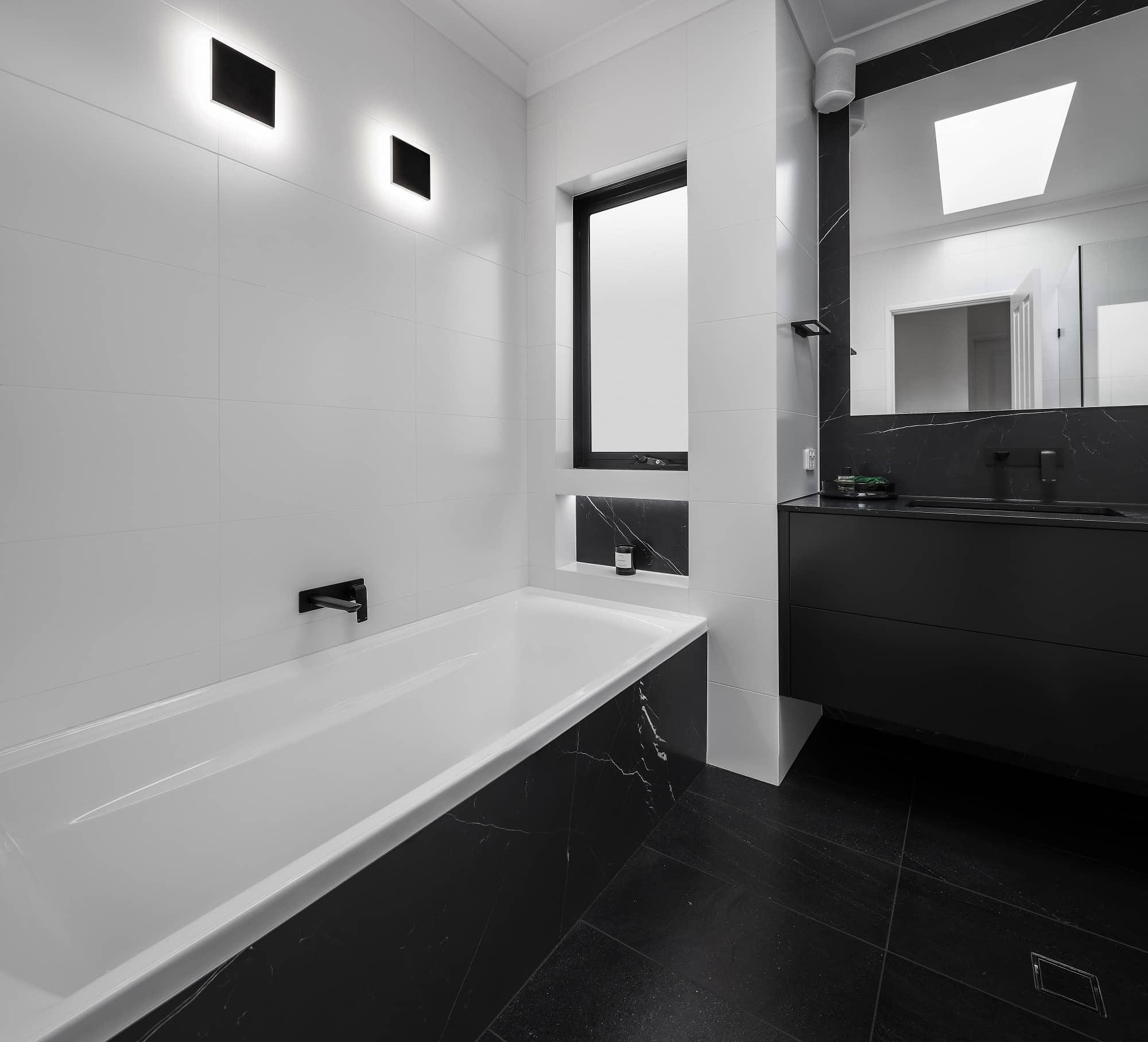 Monochrome Main Bathroom overview 2