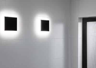 Monochrome Main Bathroom feature lights