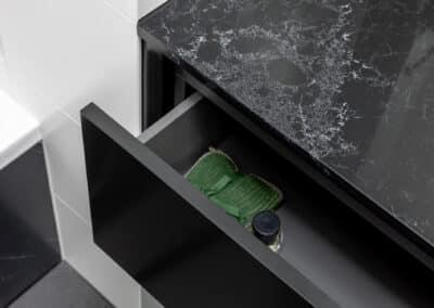 Monochrome Main Bathroom vanity drawer open