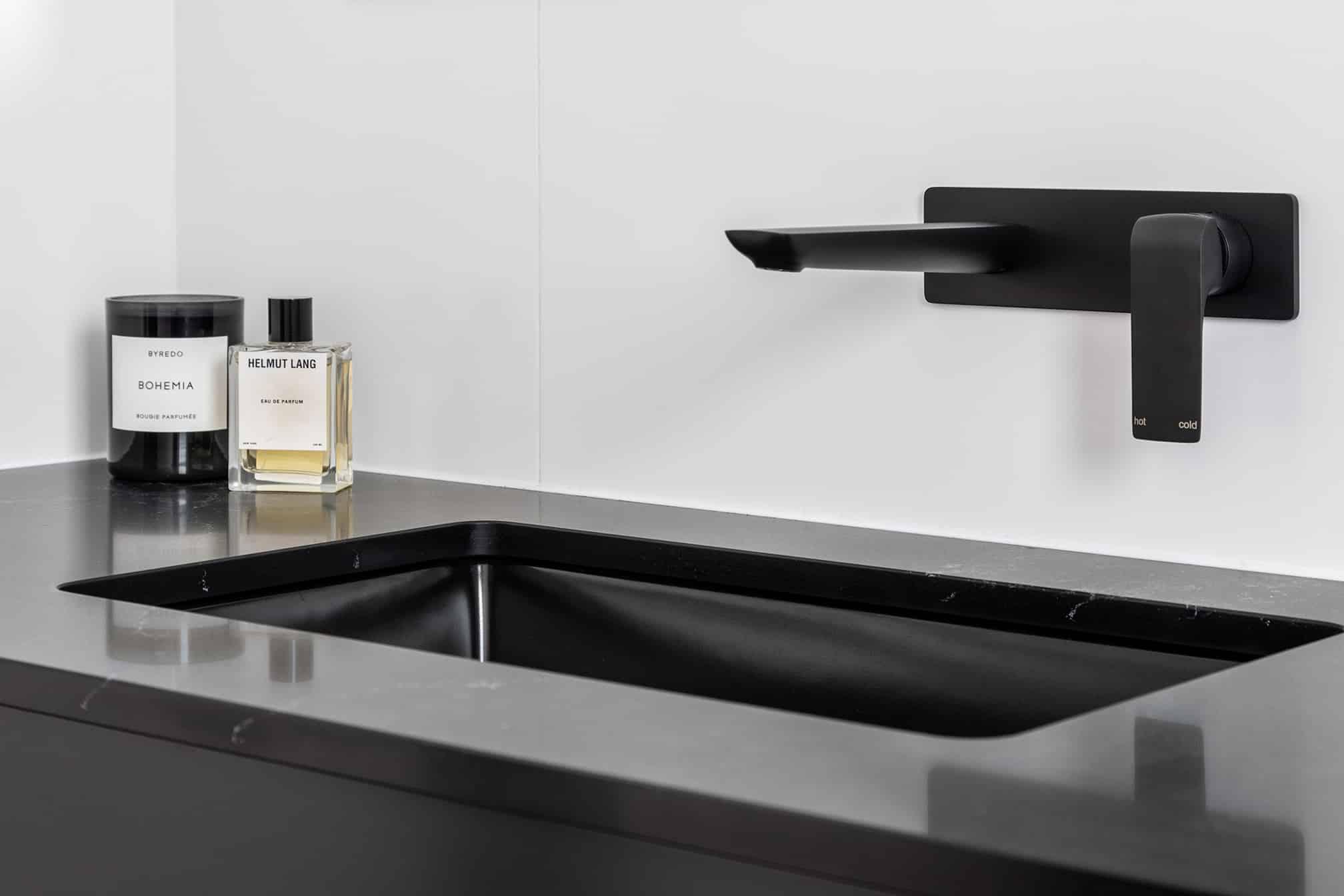 Monochrome Ensuite black tapware black basin